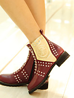 Women's Shoes Low Heel Round Toe / Closed Toe Boots Office & Career / Dress / Casual Black / Burgundy