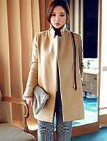 Women's Solid Yellow Coat , Vintage Long Sleeve Others