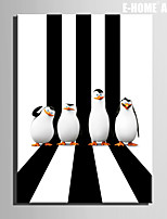 E-HOME® Stretched Canvas Art Penguin Christmas Series Decoration Painting  One Pcs