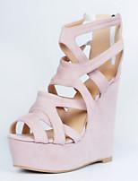 Women's Shoes Fleece Wedge Heel Wedges / Open Toe Sandals Party & Evening / Dress / Casual Pink