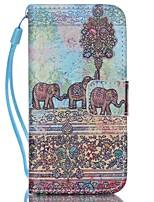 elefante padrão de couro pu caso de telefone cartão de aleta material para iphone 5c