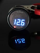 CARCHET Car Cigarette Lighter Digital LED Voltmeter Thermometer USB Charger 12V/24V Blue