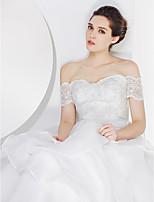 lan ting - abito da sposa a-line - spazzata avorio / treno della spazzola off-the-spalla pizzo / organza