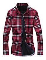 Men's Slim Plus Thick Velvet Long Sleeved Plaid Shirt , Cotton / Polyester Casual / Plus Sizes Plaids & Checks
