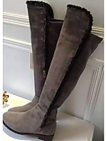 Women's Shoes Leatherette Low Heel Round Toe Boots Casual Black / Gray