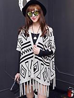 Women's Geometric Black / Gray Shrug , Casual ½ Length Sleeve
