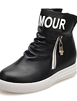Women's Shoes Patent Leather Flat Heel Combat Boots Boots Casual Black / White