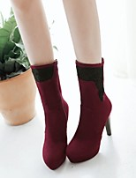 Women's Shoes Cone Heel Round Toe / Closed Toe Boots Office & Career / Dress / Casual Black / Burgundy