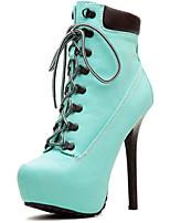 Calçados Femininos - Botas - Botas Cano Curto / Arrendondado / Botas da Moda - Salto Agulha - Preto / Azul / Amarelo / Marfim -Flanelado