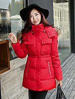 Women's Solid Pink / Red / Black / Yellow / Gray Down Coat , Casual / Plus Sizes Hooded Long Sleeve
