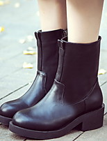 Women's Shoes Patent Leather Chunky Heel Round Toe Boots Casual Black