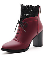 Women's Shoes Leather Chunky Heel Combat Boots Boots Party & Evening / Dress / Casual Black / Burgundy