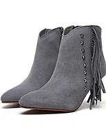 Women's Shoes Suede Cone Heel Bootie Boots Casual Black / Gray