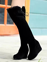 Women's Shoes Fashion Wedge Heel Round Toe Thigh-high Boots Dress / Casual Black / Red