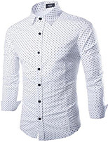 Men's Long Sleeve Shirt , Cotton / Denim Casual Pure