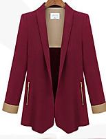 Women's Solid Blue / Red / Black Blazer , Casual Shawl Lapel Long Sleeve