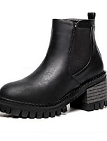 Women's Shoes Leatherette Chunky Heel Fashion Boots Boots Outdoor / Office & Career / Casual Black