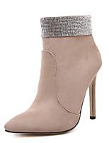 Chaussures Femme - Décontracté - Noir / Beige - Talon Aiguille - Bottes à la Mode - Bottes - Daim