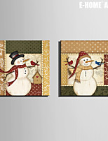 E-HOME® Stretched Canvas Art Snowman Christmas Series Decoration Painting  Set of 2