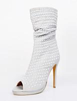 Women's Shoes Fleece Stiletto Heel Heels / Peep Toe Heels Party & Evening / Dress / Casual Beige