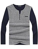 Tee-Shirt Décontracté Pour des hommes Manches longues Couleur plaine Mélange de Coton