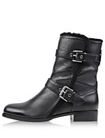 Women's Shoes Fur / Leatherette Flat Heel Fashion Boots / Combat Boots Boots Office & Career / Party / Dress Black