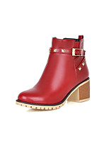 Women's Shoes Leatherette Chunky Heel Pointed Toe Boots Casual Black / Yellow / Red / Beige