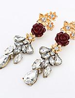 Women's European Style Fashion Wild Flowers Alloy Acrylic Earrings
