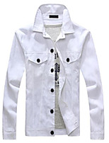 Men's Long Sleeve Jacket , Canvas / Polyester Casual Pure