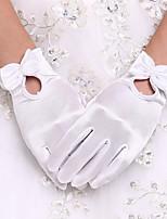 Até o Pulso Com Dedos Luva Elastano Luvas de Noiva Luvas de Festa Primavera Outono Inverno Pérolas Laço