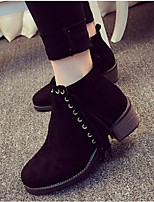 Women's Shoes Leatherette Chunky Heel Round Toe Boots Casual Black / Gray