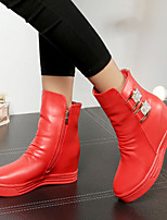 Women's Shoes Wedge Heel Comfort Round Toe Ankle Boots Casual Black / Red / White