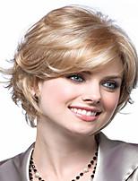 European  Lady Women Blonde Short   Syntheic  Wave  Wigs