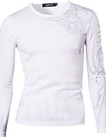 Men's Long Sleeve T-Shirt , Polyester Casual Print
