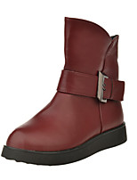Women's Shoes Low Heel Comfort / Round Toe Boots with Buckle Casual Black / Brown / Burgundy