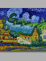 prêt à accrocher la toile de peinture à l'huile peinte à la main tendue van gogh abstraite village repro nuit étoilée un panneau