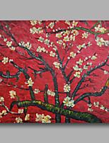 prêt à accrocher étiré peinture à l'huile peinte à la main toile de Van Gogh repro rouge fleur d'amandier un panneau