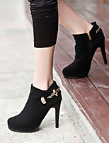 Women's Shoes Sexy Stiletto Heel Round Toe Ankle Boots Casual Black