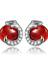 925 Sterling Silver Agate Earring Studs Fashion Jewelry