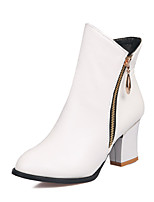 Women's Shoes Leatherette Chunky Heel  / Round Toe Boots Outdoor / Office & Career / Casual Black / White
