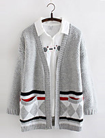 Women's Patchwork Gray Cardigan , Casual Long Sleeve