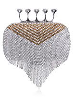 Women Polyester / Metal Minaudiere Clutch / Evening Bag - Silver