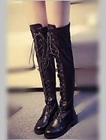 Women's Shoes Chunky Heel Fashion Boots / Comfort / Combat Boots / Round Toe Boots Casual Black / White