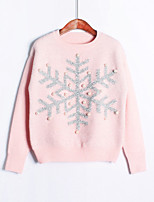 Women's Fashion Casual Solid Round Neck Sequins Cashmere Knit Sweater