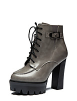 Wangfeier®Women's Shoes Leatherette Chunky Heel Bootie / Round Toe Boots Dress / Casual Black / Red / Gray