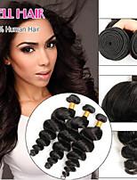 6 bis non trasformati capelli vergini peruviani onda allentata estensioni dei capelli umani 3pcs / lot nero naturale