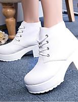 Calçados Femininos - Botas - Botas de Neve - Rasteiro - Preto / Branco - Courino - Casual