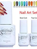 YeManNvYou®3pcs Metal Color UV Gel Polish No.1-12(5ml, 1PCS Nail Polish +1PCS Base Coat + 1PCS Top Coat)