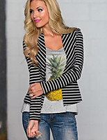 Women's Striped White / Black Cardigan , Casual Long Sleeve