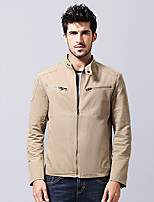 Men's Long Sleeve Jacket  Cotton Casual  Work Pure